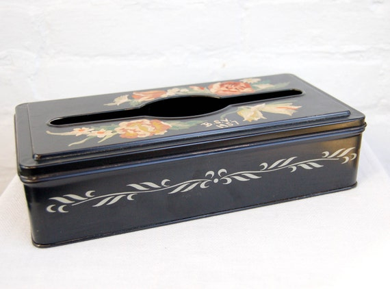 Vintage Tissue Box Hand Painted Kleenex Dispenser Toll Painted Metal