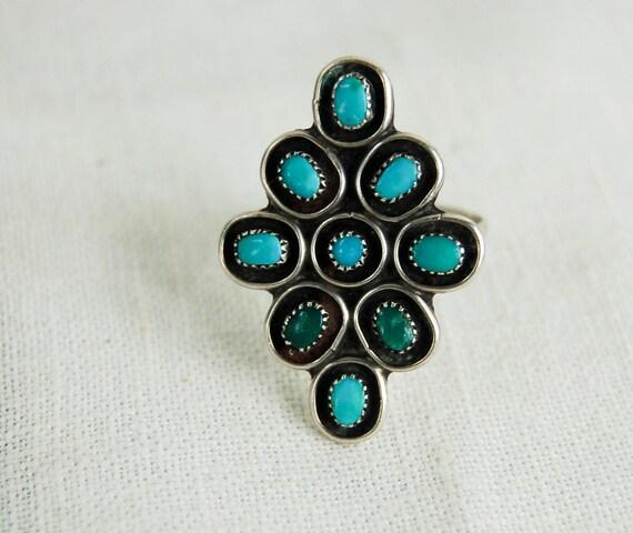 Vintage Zuni Ring Turquoise Nine Stone Petit Point Size 11.5