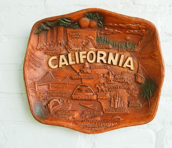 Vintage California Faux Bois Wall Hanging Sign, Tray or Bowl Souvenir