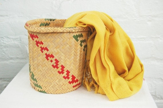 Vintage Tribal Mexican Basket Handwoven Straw