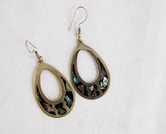 Vintage Mexican Earrings Inlaid Abalone Oval Hoops