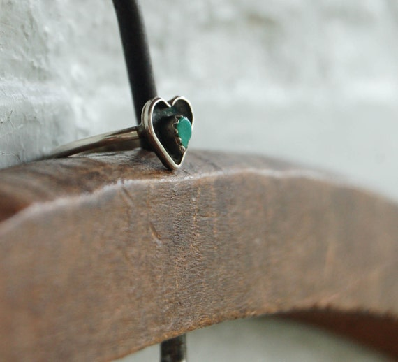 Vintage Turquoise Ring Western Heart