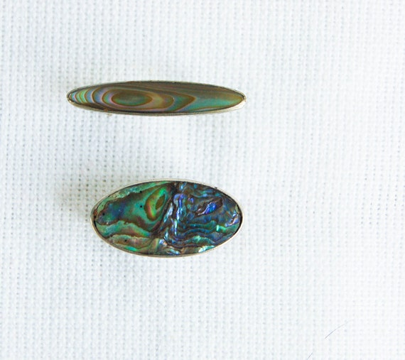 Vintage Abalone Pin Brooch Pair from Mexico Planetoids