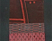 Mid-Century Modern Table Runner designed with Vintage Japanese Kimono Fabrics -  FREE shipping