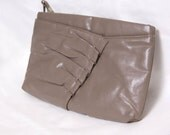 Vintage 80s Taupe Ruffle Clutch
