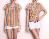 Vintage Summer Striped Button Down Shirt