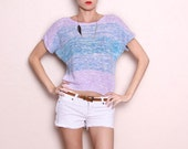 Vintage Purple Blue and White Short Sleeve Sweater