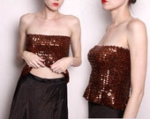 Vintage Brown Sequin Taffeta Party Dress - 2 piece