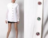 Vintage Oversized White blouse Sheer Sleeves - 80s