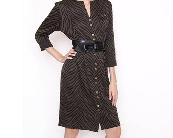 Vintage Brown and Black Tiger Stripe - Wiggle Dress - Rockabilly