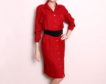 Vintage 80s Red Long Sleeve Wiggle Dress / Button Down Dress