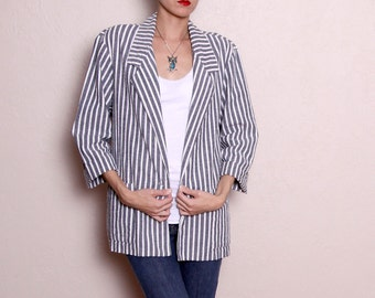 Vintage Grey White Stripe Oversized Blazer