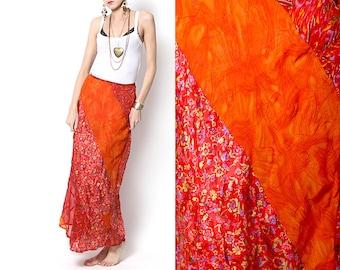 Vintage Boho Chic Gypsy Orange/Red Long Skirt