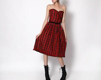 Vintage Plaid Red Black Taffeta Dress - medium