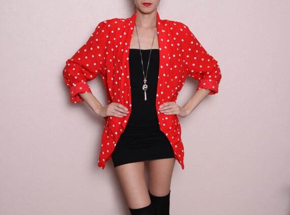 Vintage Oversized Red/white Polka Dot Blazer