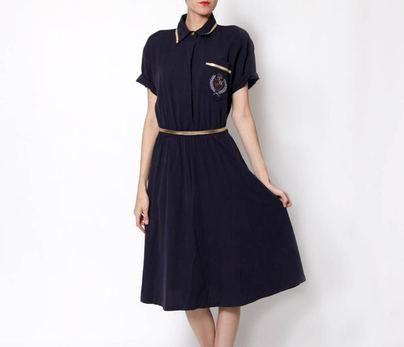 RESERVED - Vintage Preppy Navy and Gold Knee length collared Dress