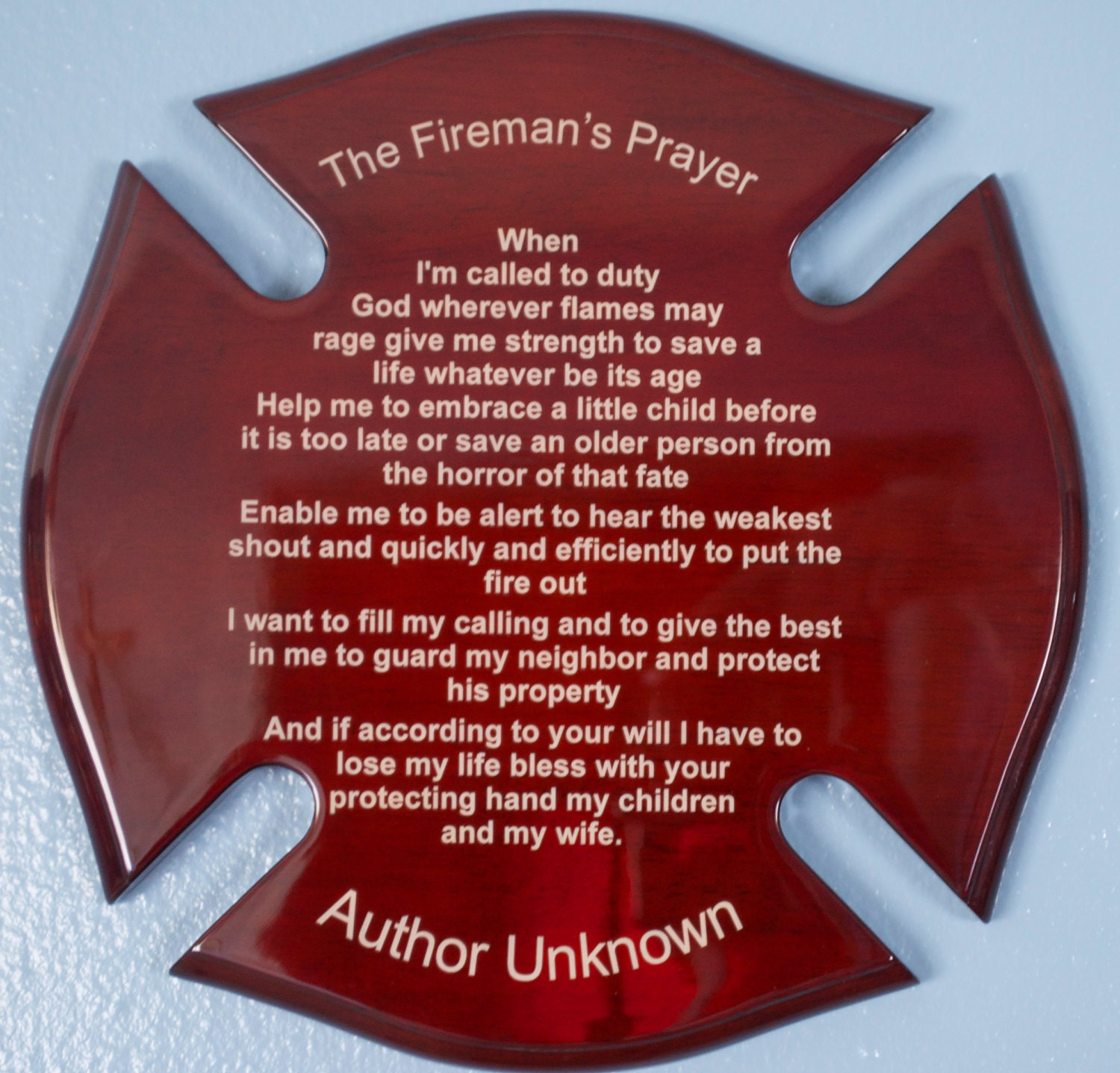 Fireman's Prayer on Maltese Cross 12 inch by by EtchingMemories ... Yorkshire Terrier 911