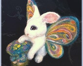 "Needle Felted RABBIT FAIRY - Butterfly Winged Bunny - ""Bunner-Fly"" - Fantasy Soft Sculpture - QofQ"