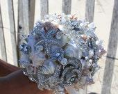 Brooch bouquet bridal Beach themed Wedding
