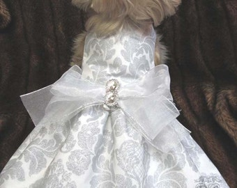 Delovely Damask Silver Glitter Couture Dog Dress