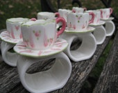 Vintage Porcelain Rings, with Tea Cups & Roses, 8.  Great Easter Gift.  March trends. Pink and White