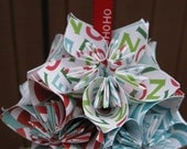 Christmas Kusudama Ball, With YOUR CHOICE of RIBBON.  Makes a great gift for everyone on your list.