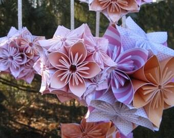 5 Kusudama Ball Decorations, CHOOSE YOUR COLORS. Hanging Wedding Decor, Shower, Anniversary Party, Bar Mitzvah, Bat Mitzvah