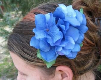 Blue Hydrangea Flower Hair Piece. Flower Girl, Bride, Bridesmaid. Wedding Hair Accessories. SPECIAL ORDERS WELCOME.