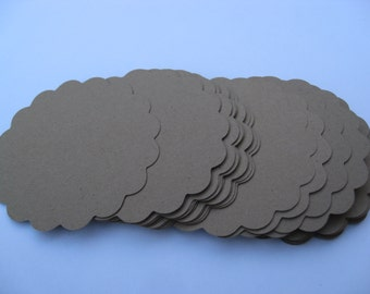 20 Scalloped Round Tags. 5.5 inch. CHOOSE YOUR COLORS.  Wedding, Favor, Cupcake, Top Notes. Circles.