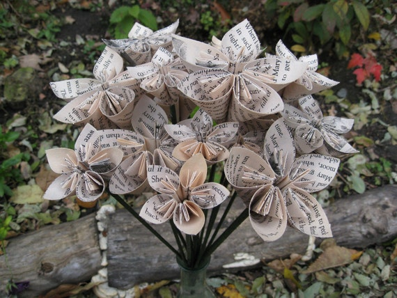 Upcycled Secret Garden Paper Flower Bouquet, Origami Paper Flowers