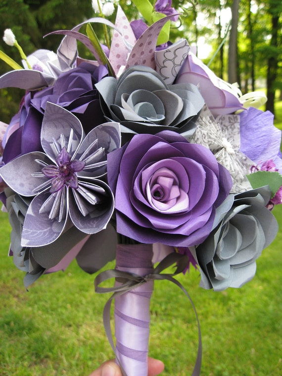 Custom Paper Flower Wedding Bouquet. Purple & Grey. RESERVED for CLAIRE.