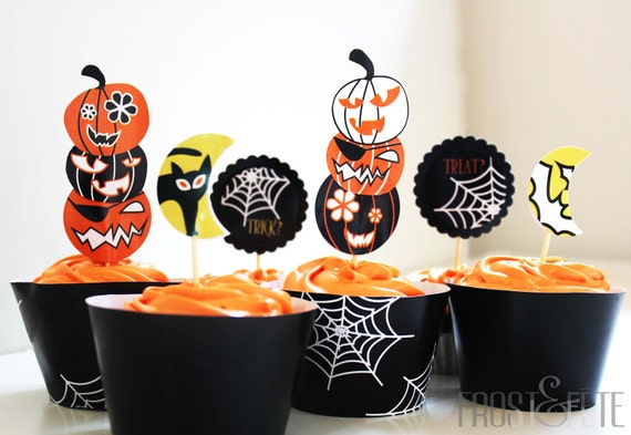 Printable digital file of Trick or Treat Halloween cupcake toppers and wrappers: Spooky cobwebs, pumpkins, black cats and bats