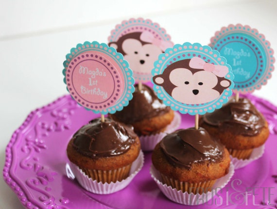 Printable digital file of Happy birthday customizable cupcake toppers