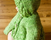 PDF Knitting Pattern Hooded Baby Sweater With Cables