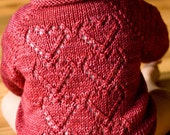 PDF Knitting Pattern Seamless Baby Cardigan WIth Hearts- Cupid