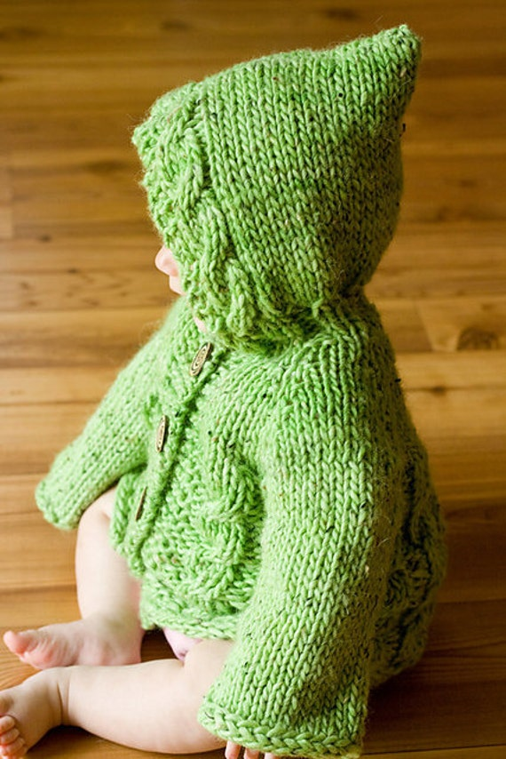 Hoodie Knitting Pattern For Babies And Toddlers : Items similar to PDF Knitting Pattern Hooded Baby Sweater ...