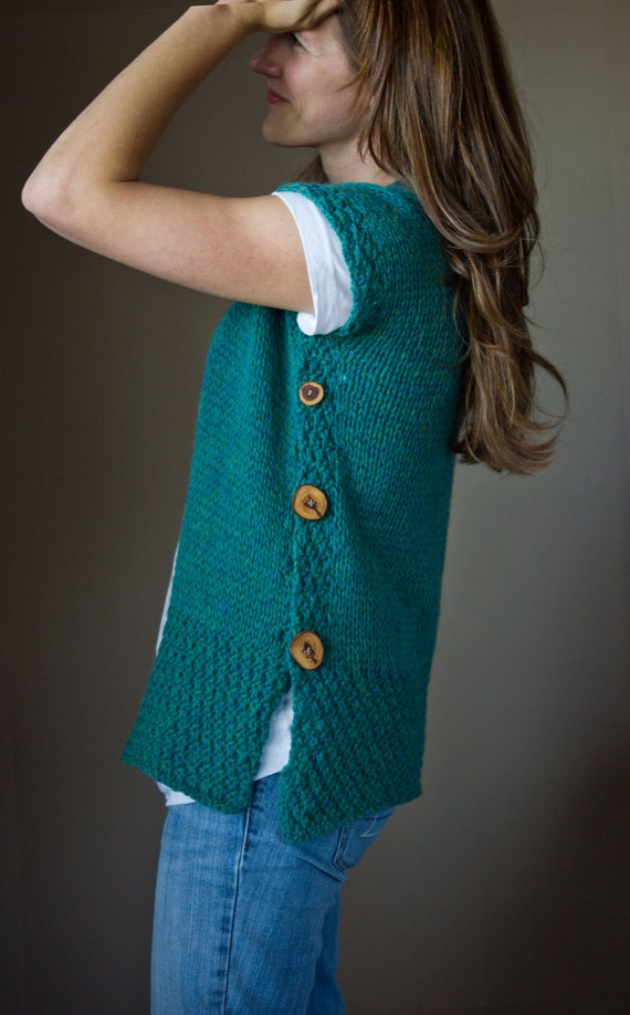 Vest Jumper Knitting Pattern : Items similar to PDF KNITTING PATTERN, Seamless, Knit Flat, Vest, Spring Card...