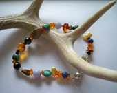 100% Donated to an Animal Shelter - Semiprecious Stone Anklet - No US Shipping - Amber Jewelry