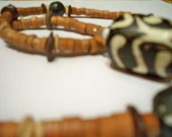Tribal, Wood, Brown, Unique Necklace. Silver Toggle Clasp - Handmade with Love - Eco Friendly Recycled Beads Upcycled