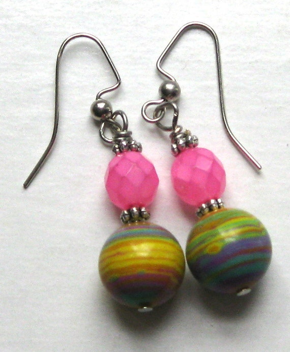 RESERVED Marbles and Pink Stones Party Earrings
