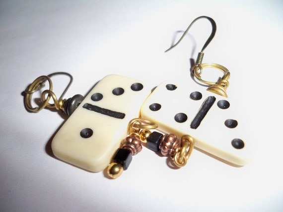 Domino Earrings - upcycled, recycled, mixed media, mixed metal