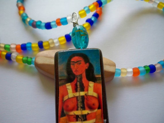 Frida Pendant & XL Frosted Seed Bead Necklace with Handcarved Wood Bead - Under 10 - Specially Priced