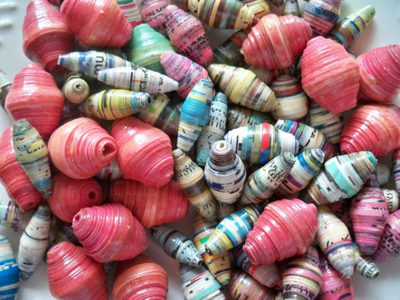 100% Donated to Women in Rwanda - Lot of 100 Handmade paperbeads -  Variety of Shapes and Colors