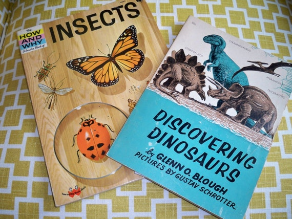 RESERVED Vintage Childrens Books - insects and Dinosaurs