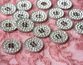 Vintage Silver Metal Rhinestone Buttons - Set of 4