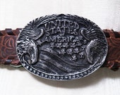 Vintage 70s Western Rustic Whiskey Leather Belt - Silver Eagle buckle - Embossed Rose Leather strap - USA