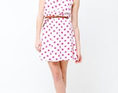 Vintage 90s Pink Polka Dot Mini Dress - Size US Small - 90s Sundress - Summer Fashion