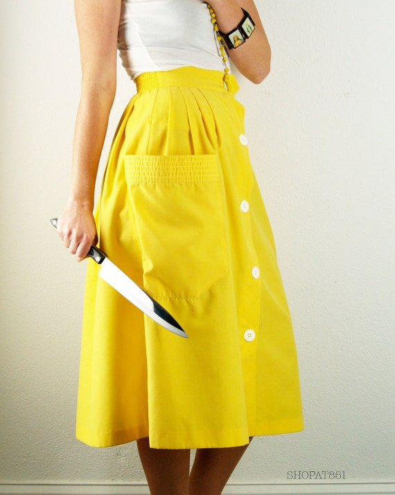 vintage 60s bright yellow skirt high waisted retro by
