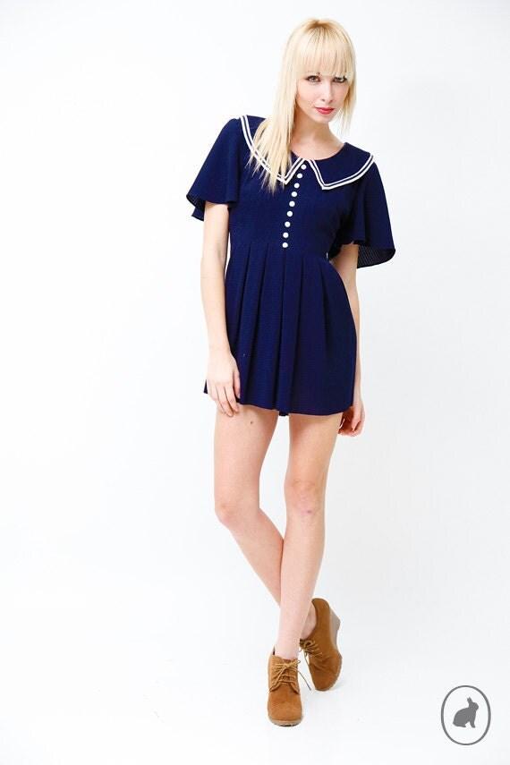 Vintage 80s Navy Blue Sailor Mini Dress - Sailor Collar and Tie Back Waist