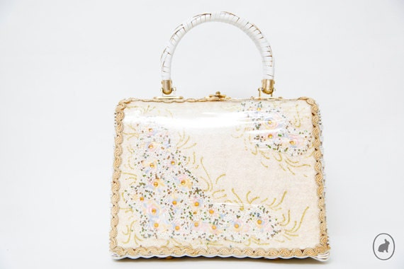 Vintage 60s White Wicker Basket Purse - Large Box Purse - Spring Summer Fashion
